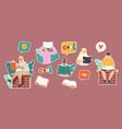 set stickers kids reading stories children vector image vector image