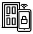 smart door icon outline style vector image