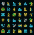 sports doctor icons set neon vector image vector image