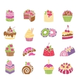Sweets and desserts icons in spring colors vector image vector image