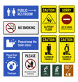 toilet notice and restroom warning sign vector image vector image