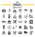 travel solid icon set tourism symbols collection vector image vector image