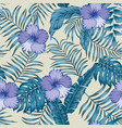 tropical leaves and hibiscus blue colors seamless vector image vector image