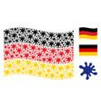 waving german flag pattern of blot icons vector image