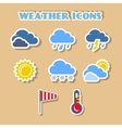 Weather icons set color stickers vector image