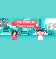 welcome to south korea poster korean couple over vector image