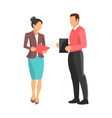woman and man standing on vector image