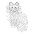 Cat with Fluffy tail in zentangle style Freehand