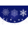 10 white delicate snowflakes on a blue background vector image vector image