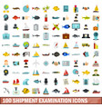 100 shipment examination icons set flat style vector image vector image