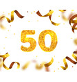 Anniversary banner 50th gold ribbon fly