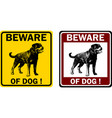 beware dog sign vector image vector image