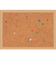blank cork notice board with thumbtacks vector image vector image