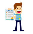 businessman showing achievement award paper vector image