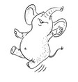 cartoon image of dancing elephant vector image vector image