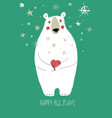 christmas greeting card with funny bear vector image vector image