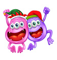 Christmas theme with two monsters in party hats vector image vector image