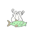 comic cartoon smelly fish vector image vector image