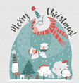cute cartoon mommy bear with their babies bear vector image vector image