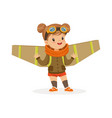 cute little girl in pilot costume playing with vector image