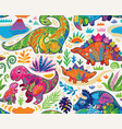 cute seamless pattern with mom and badinosaurs vector image vector image