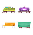 design of train and station icon set of vector image