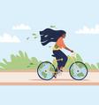 eco-friendly transport happy woman ride bicycle vector image vector image