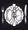 elegance romantic table setting on blackboard vector image vector image