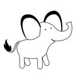 elephant cartoon black silhouette in white vector image