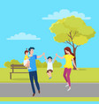 family mother father and kids walking together vector image vector image