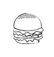 figure delicious hamburger fast food meal vector image vector image