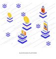 flat color modern isometric - blockchain platform vector image vector image