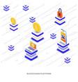 flat color modern isometric - blockchain platform vector image