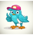 Funny blue cartoon bird with letter vector image