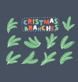 green fir branches symbol merry christmas vector image vector image