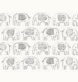 hand drawn elephant pattern doodle elephant vector image vector image
