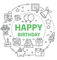 happy birthday linear vector image vector image