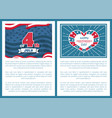 happy independence day 4th july posters heart vector image vector image