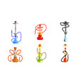 hookah od different colors set lounge bar or vector image