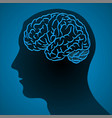 human head and chip brain vector image vector image