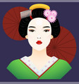 japanese lady vector image vector image