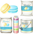 Macarons in different packaging vector image vector image