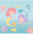 mermaids jellyfish octopus starfish fishes shrimp vector image vector image