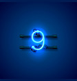 neon city font sign number 9 signboard nine vector image vector image