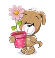 Puppyy with flower vector image vector image
