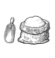 sack with whole flour hand drawn sketch style vector image