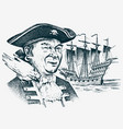 sea pirate portrait of the seaman hook against vector image vector image