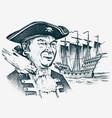 sea pirate portrait seaman hook against vector image vector image