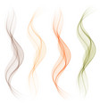 set abstract color wave smoke transparent wavy vector image vector image