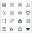 set of 16 education icons includes chemical vector image vector image